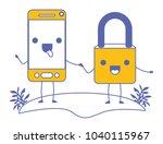 smartphone and padlock kawaii... | Shutterstock .eps vector #1040115967