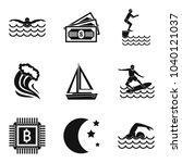 aquatic sport icons set. simple ...   Shutterstock .eps vector #1040121037
