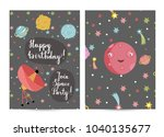 happy birthday cartoon greeting ... | Shutterstock . vector #1040135677