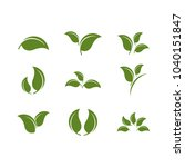 leaf green set icon vector | Shutterstock .eps vector #1040151847