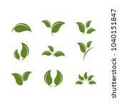 leaf green set icon vector | Shutterstock .eps vector #1040151847
