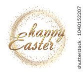 happy easter greeting card with ... | Shutterstock .eps vector #1040152207