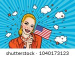smiling woman holding national... | Shutterstock .eps vector #1040173123