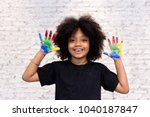 african american playful and... | Shutterstock . vector #1040187847