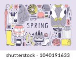 hand drawn spring pattern. cute ... | Shutterstock .eps vector #1040191633