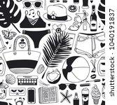 hand drawn summer seamless... | Shutterstock .eps vector #1040191837
