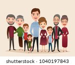 big happy family isolated... | Shutterstock . vector #1040197843