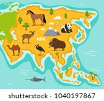 asian map with wildlife animals ... | Shutterstock . vector #1040197867