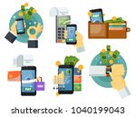 mobile payment set isolated... | Shutterstock . vector #1040199043