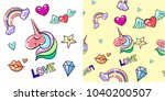 vintage pattern and love... | Shutterstock . vector #1040200507