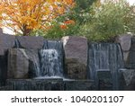 Small photo of Washington D.C., USA, November 4, 2017: Waterfall at the Franklin D. Roosevelt Memorial