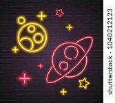 galaxy neon light glowing... | Shutterstock .eps vector #1040212123
