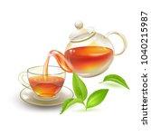 tea. fresh brewed black tea in ... | Shutterstock .eps vector #1040215987