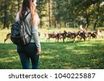 young beautiful travel girl... | Shutterstock . vector #1040225887