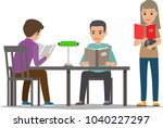 people reading textbooks in... | Shutterstock .eps vector #1040227297