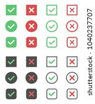 check box icons  tick and cross ... | Shutterstock .eps vector #1040237707
