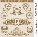 set of golden monograms with... | Shutterstock .eps vector #1040263543
