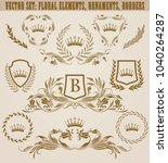 set of golden monograms with... | Shutterstock .eps vector #1040264287