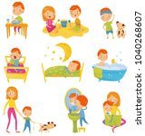 daily routine of little boy.... | Shutterstock .eps vector #1040268607