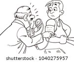 the doctor measures the... | Shutterstock .eps vector #1040275957