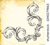 retro baroque decorations... | Shutterstock .eps vector #1040279863