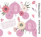 vintage seamless pattern with... | Shutterstock .eps vector #1040279983
