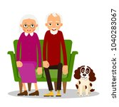 older couple. on the sofa... | Shutterstock . vector #1040283067