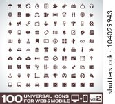 100 universal icons for web and ... | Shutterstock .eps vector #104029943