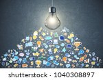 glowing lamp and business... | Shutterstock . vector #1040308897