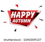 happy autumn  sign with red...   Shutterstock .eps vector #1040309137