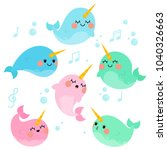 Cute Singing Narwhals In White...