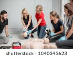 people learning how to safe a... | Shutterstock . vector #1040345623