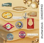 summer design elements on sand... | Shutterstock .eps vector #104035943