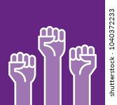 fists hands up vector... | Shutterstock .eps vector #1040372233