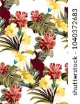 bright colorful jungle pattern...   Shutterstock .eps vector #1040372683