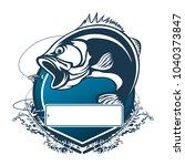 fishing bass logo. bass fish...   Shutterstock .eps vector #1040373847