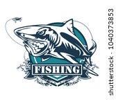 toothy great white shark... | Shutterstock .eps vector #1040373853
