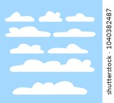 cloud vector icon set white... | Shutterstock .eps vector #1040382487