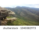 """Small photo of The rock formation called """"Jaws of Death"""" on the cliff face that resembling the jaw of some giant beast in Grampians National Park, Australia."""