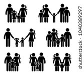 stick figure family icon set.... | Shutterstock .eps vector #1040389297