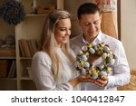 easter. young happy couple... | Shutterstock . vector #1040412847