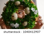 happy easter. woman holding... | Shutterstock . vector #1040412907