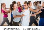 smiling children dancing waltz... | Shutterstock . vector #1040413213