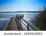 wooden jetty at lake bederkesa  ... | Shutterstock . vector #1040414053