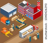 industrial machines isometric... | Shutterstock .eps vector #1040426293