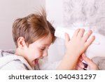 mothers drying her beautiful... | Shutterstock . vector #1040431297