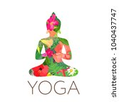 yoga art. buddha silhouette... | Shutterstock .eps vector #1040437747