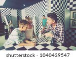 family is trying to get out of... | Shutterstock . vector #1040439547