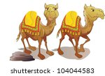 two camels  brown  smiling ... | Shutterstock .eps vector #104044583