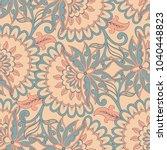 ethnic flowers seamless vector... | Shutterstock .eps vector #1040448823